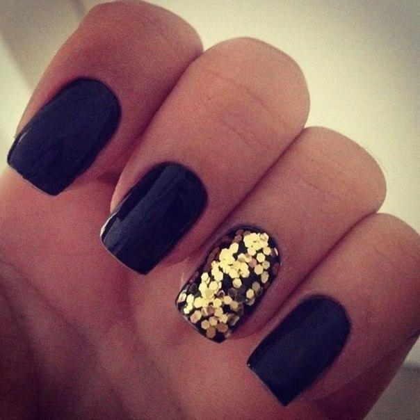 Дизайн ногтей гель черный
